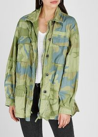 FREE PEOPLE Lead The Way camouflage-print cotton jacket in green and blue