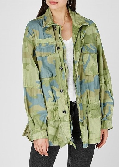 FREE PEOPLE Lead The Way camouflage-print cotton jacket in green and blue - flipped