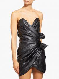 SAINT LAURENT Gathered leather mini dress ~ designer party dresses