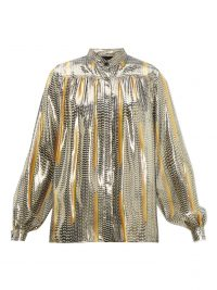 GIAMBATTISTA VALLI Geometric-print silk-blend blouse ~ metallic-look clothing