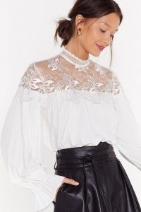 Nasty Gal Get My Heart Lacing High Neck Blouse