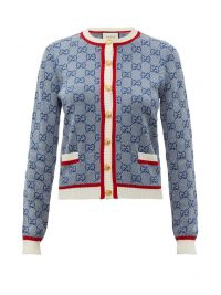 GUCCI GG logo-jacquard wool-blend cardigan in blue ~ designer knitwear