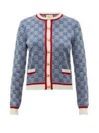 GUCCI GG logo-jacquard wool-blend cardigan in blue ~ designer knitwear