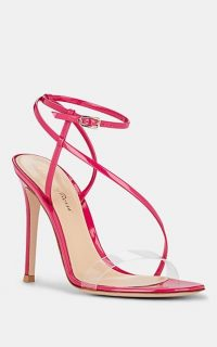 GIANVITO ROSSI Patent Leather & PVC Ankle-Strap Sandals in Fuchsia ~ pink strappy heels