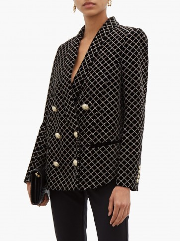 BALMAIN Glitter-grid double-breasted black velvet blazer