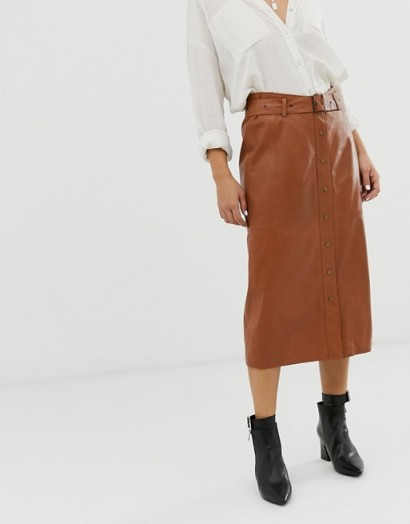 Goosecraft leather midi skirt with belt detail in cognac | wardrobe essential