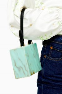 TOPSHOP GRACE Turquoise Acrylic Grab Bag / light-blue box bags