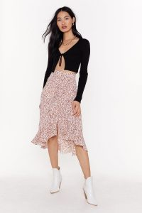 Nasty Gal Grow Old with Me Floral Midi Skirt Pink | frill hem skirts