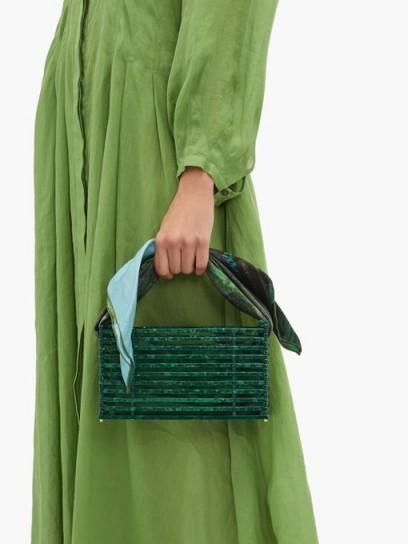 MONTUNAS Guaria scarf-handle acetate box bag in jade ~ green summer handbag