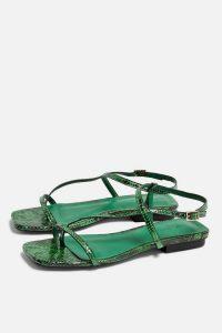 TOPSHOP HAVEN Green Flat Sandals / snake print flats