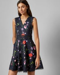 TED BAKER MAYO Hedgerow V neck skater dress