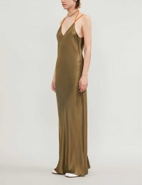 HELMUT LANG Rubberband satin maxi dress in dark resin