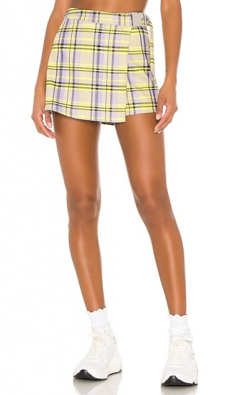 h:ours Appleton Skort Lavender & Green / checked wrap over skorts
