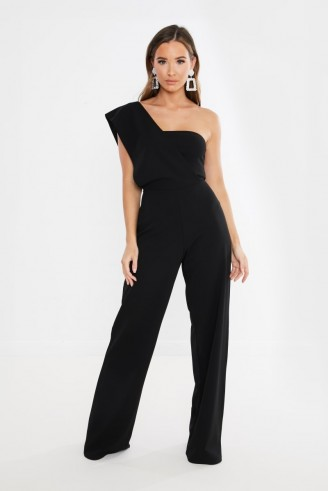 IN THE STYLE INAAYA BLACK DRAPE ONE SHOULDER JUMPSUIT ~ glamorous evening fashion