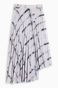 TOPSHOP Ivory Grid Tie Dye Print Pleat Midi Skirt