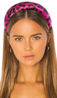 Jennifer Behr Thada Headband Fuchsia Leopard Print | hot-pink animal headbands