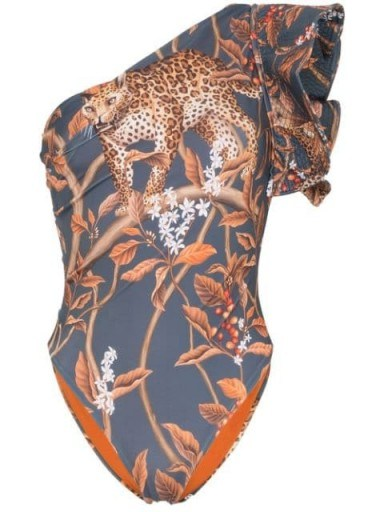 JOHANNA ORTIZ Indonesian Desire printed one-shoulder swimsuit - flipped