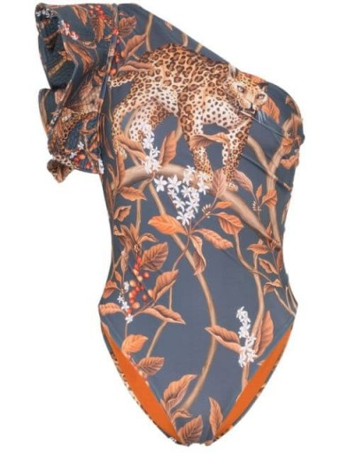 JOHANNA ORTIZ Indonesian Desire printed one-shoulder swimsuit