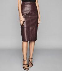 REISS KAI LEATHER PENCIL SKIRT POMEGRANATE ~ essential luxury wardrobe addition