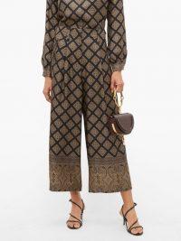 ETRO Kent-print silk wide-leg trousers