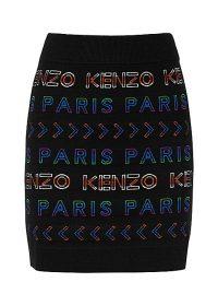 KENZO Black logo-intarsia wool-blend mini skirt / designer knitted skirts