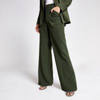 River Island Khaki wide leg utility trousers | green pocket detail pants
