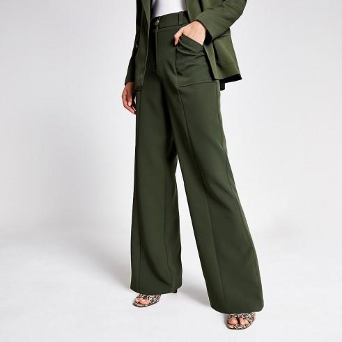 River Island Khaki wide leg utility trousers | green pocket detail pants