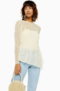 Topshop Lace Asymmetric Hem Top / sheer cream tops