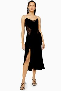 Topshop Lace Panel Slip Dress in Black
