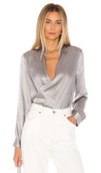 L'AGENCE Marcella Bodysuit Pearl Grey | wrap style bodysuits