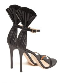 GIANVITO ROSSI Black lamé 105 plissé-cuff stiletto sandals ~ fan detailed event shoes