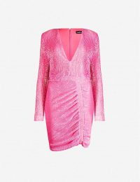 LAVISH ALICE V-neck ruched sequinned dress in neon-pink