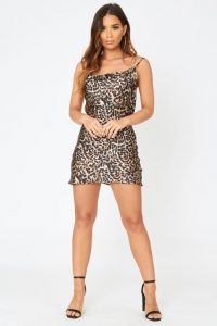THE COUTURE CLUB LEOPARD PRINT COWL NECK DRESS