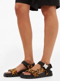 PRADA Leopard-print leather sandals