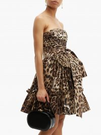 DOLCE & GABBANA Leopard-print off-the-shoulder silk mini dress ~ beautiful Italian event wear