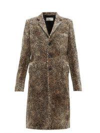 SAINT LAURENT Leopard-print single-breasted velvet coat