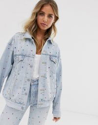 Levi's dad trucker jacket with jewels in showgirl | embellished denim jackets