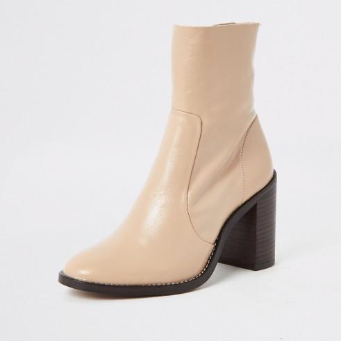 RIVER ISLAND Light pink leather block heel sock boot