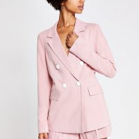 RIVER ISLAND Light pink linen boyfriend blazer