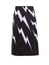 PRADA Lightning bolt-print cotton-poplin skirt