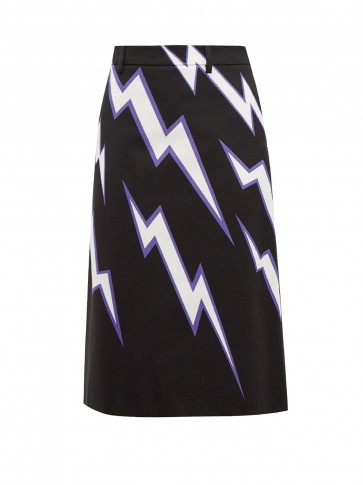 PRADA Lightning bolt-print cotton-poplin skirt
