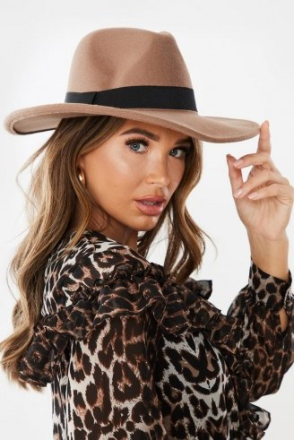 IN THE STYLE LIKITA CAMEL FEDORA HAT ~ brown wide brimmed hats - flipped