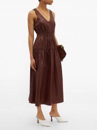 TIBI Liquid Drape gathered-waist dress in burgundy