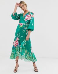 Liquorish wrap front midi tea dress in green floral print ~ summer garden party frock