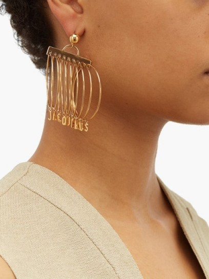 JACQUEMUS Logo-charm multi-hoop earrings | designer hoops