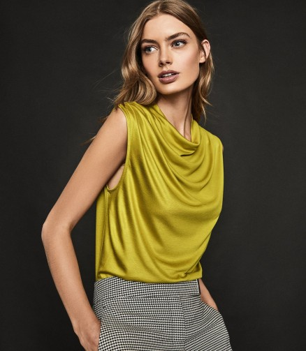 REISS LOLA HIGH NECK SLEEVELESS TOP MUSTARD