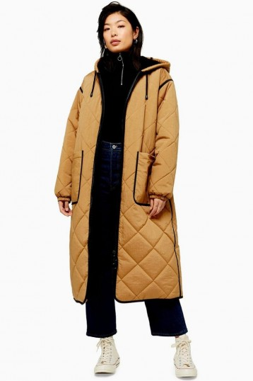Topshop Longline Brown Parka | tan quilted coats