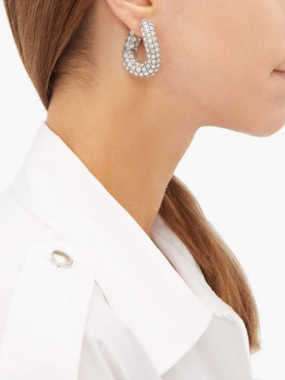 BALENCIAGA Loop crystal-embellished earrings