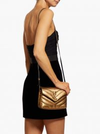 SAINT LAURENT Loulou quilted metallic-gold leather cross-body bag ~ luxury flap bags