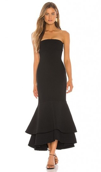 Lovers + Friends Dillion Midi in Black – occasion glamour - flipped